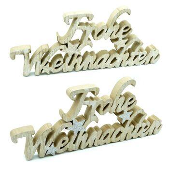 28-001466, Holz Weihnachtsdekoraktion 30 cm, Schriftzug: