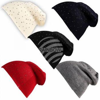 Beanie Slouch Mütze creme blau schwarz grau rot