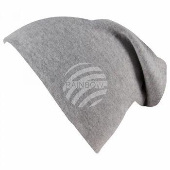 Long Beanie Slouch Mütze grau hellgrau einfarbig
