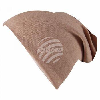 Long Beanie Slouch Mütze hellbraun einfarbig