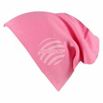 Long Beanie Slouch Mütze pink einfarbig