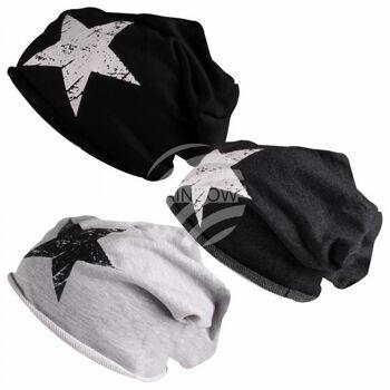 Long Beanie Slouch Mütze schwarz weiß grau