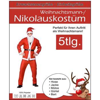 28-102149, Weihnachtsmannkostüm, Nikolauskostüm, 5-teilig, Jacke, Hose, Mütze, Bart und Gürtel
