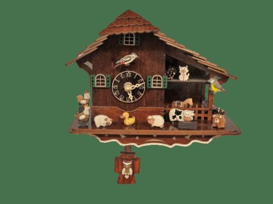 Hochwertige Bauernhaus-Uhr mit Quarz-Uhrwerk und stündlichen Tiergeräuschen