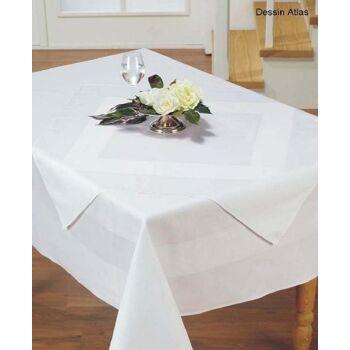Tischdecke Damast Atlas mit Atlaskante 130 x 130 cm Neuware TOP-Qualität 100% Baumwolle
