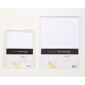 Tischdecke Damast Atlas mit Atlaskante 130 x 170 cm Neuware TOP-Qualität 100% Baumwolle