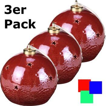 28-413985, Keramikkugel mit LED Licht, 3er Set, mit Timer 6 Stunden, Wintermotiv - SONDERPOSTEN