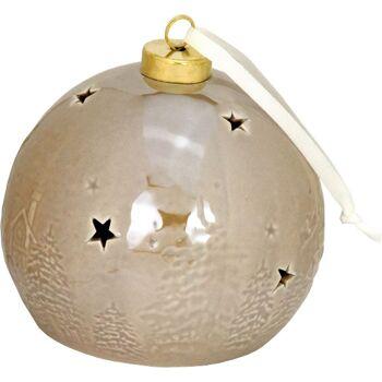 28-413989, Keramikkugel mit LED Licht, 3er Set, mit Timer 6 Stunden, Wintermotiv - SONDERPOSTEN