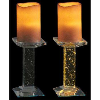 28-631300, LED Stumpenkerze mit LED Licht auf Glas Kerzenständer - SONDERPOSTEN