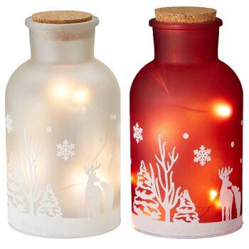 28-676572, LED Glas Windlicht 19 cm,  Winter 10 LED, mit LED Licht
