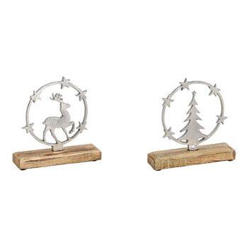 Elch/Tannenbaum im Sternenkreis aus Metall, Mango Holz Silber 2-fach, (B/H/T) 18x18x5cm