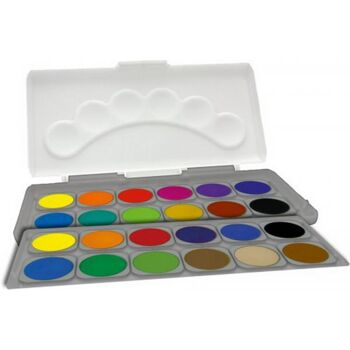 Schuldeckfarbkasten, 24 Farben, 1 Stück