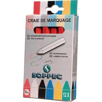 SOPPEC Markierkreide rot unpapiert 12 St./Schachtel