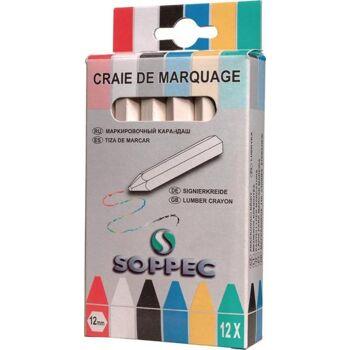 SOPPEC Markierkreide weiß unpapiert 12 Stück / Schachtel