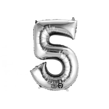 SuperShape 5 silber Folienballon P50 verpackt 58 x 86 cm, 5 Stück
