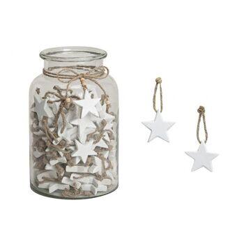 Hänger Stern in weiß im Glas, aus Holz, 5 cm
