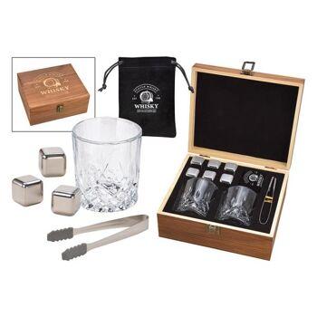 Whisky Eiswürfel Set aus Edelstahl, 2,7cm, 6 Würfel mit 2 Gläser 210ml, inkl. Zange + Samtbeutel, in Holzbox