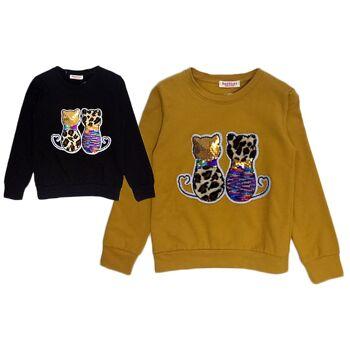 Kinder Mädchen Pullover Katzen Leopard Muster Pailletten Warm Langarmshirt Sweatshirt Pulli Sweater Kinderpullover Oberteil - 7,90 Euro
