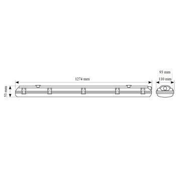 LED  Wand & Deckenleuchte IP65 2X16 W 120cm 3200 lumen . Wannenleuchte  inkl. zwei T8 LED  Röhren