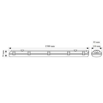 LED  Wand & Deckenleuchte IP65 2X22 W 150cm 5280 lumen . Wannenleuchte  inkl. zwei T8 Premium LED  Röhren