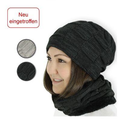 NEUES ANGEBOT Wintermütze Schal Set schwarz für Herren und Damen mit Kaschmir-Imitat