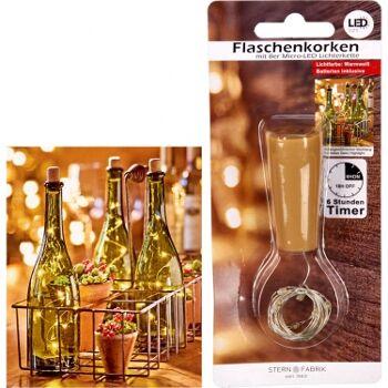 12-75950, LED Flaschenkorken mit Timer, mit 8er Micro-LED Lichterkette, Partylicht, Stimmungslicht, usw