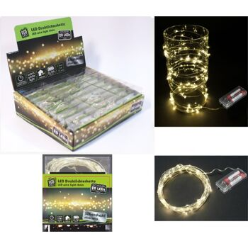 12-22098, LED Drahtlichterkette, 20 LED, warmweiß 200 cm