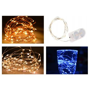12-77578, LED Draht Lichterkette 10er  incl. Batterie 2 x CR2032 kaltweiß Silberdraht