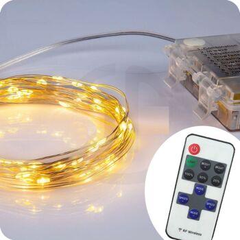 28-775022, Lichterkette micro mit 100 LED, 10,30 m, mit Fernbedienung, 8 Lichtfunktionen, für Innen und Außen