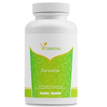 Vitamona Curcuma - 180 Kapseln Kurkuma + schwarzer Pfeffer, Curcumin & Piperin, hochdosiert, vegan