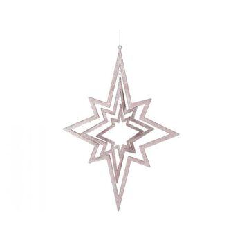 3D Hängedeko / Fensterdeko Stern roségold, ca. 35 x 48 cm, 3 Sterne ineinander drehend