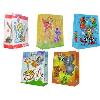 Geschenkbeutel groß (330 x 250 x 130 mm), mit farbiger Kordel in 5 Design, Kindermotive