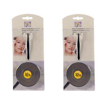 Kosmetikspiegel Ø 7,5 cm schwarz, 10fach Vergrößerung, mit Saugnapf und Pinzette, im Blister verpackt