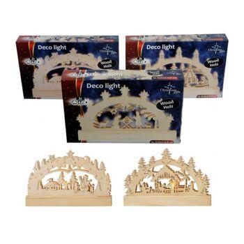 Weihnachts Dekolichter mit 5 LED, mehrfach sortiert, aus Holz in Geschenkbox