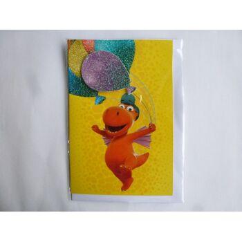 3D Glückwunschkarte Der kleine Drache Kokosnuss, Ballon, Geschenkkarten, Glückwunschkarten