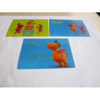 Effekt Postkarte Der kleine Drache Kokosnuss, kippt man die Karte, so ändert sich das Motiv