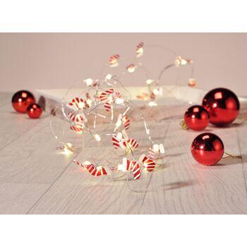 LED Lichterkette mit 40 roten Santa Claus Nikolaus Stiefeln NEU