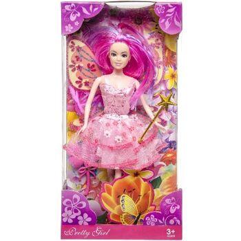 21-1020, Modepuppe mit Kleid in Box 34 x 16 cm, Spielpuppe