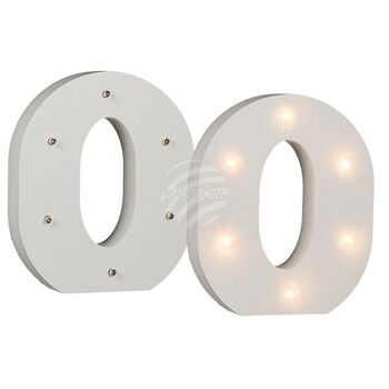 Beleuchtete Holz-Ziffer 0, mit 6 LED, ca. 16 cm, f