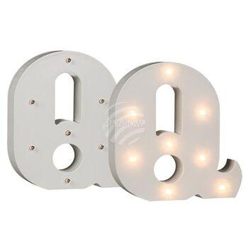 Beleuchteter Holz-Buchstabe Q, mit 8 LED, ca. 16 c