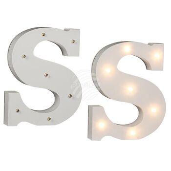 Beleuchteter Holz-Buchstabe S, mit 7 LED, ca. 16 c