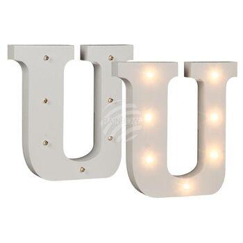 Beleuchteter Holz-Buchstabe U, mit 7 LED, ca. 16 c