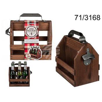Holz-Flaschenhalter mit Metall-Flaschenöffner