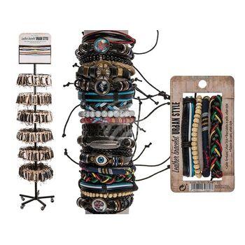 Leder-Armband, Urban Style, 24-fach sortiert