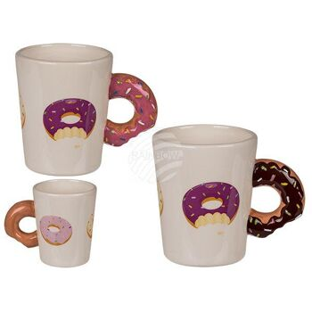 Steingut-Becher, Donut mit Donut-Griff