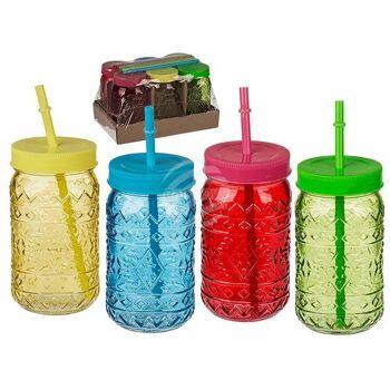 Trinkglas,Tiki Style, Einmachglas