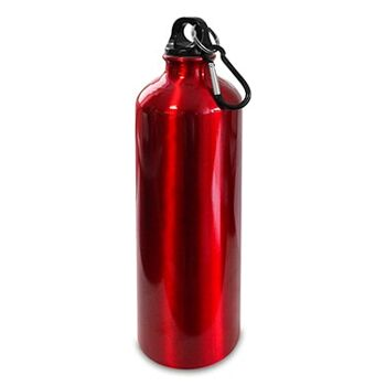 Alu-Trinkflasche Iso rot, m. 770 ml Fassungsvermögen u. Karabinerhaken