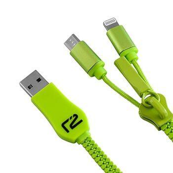 Universal USB Lade- und Datenkabel mit Zipper in Grün, Ready2Power