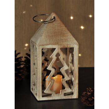 Holzlaterne mit LED Kerze Holz Laterne Weihnachts Dekoration