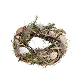 Osterkranz aus Holz, Kunststoff Eier Dekor, Braun (B/H/T) 25x25x7cm